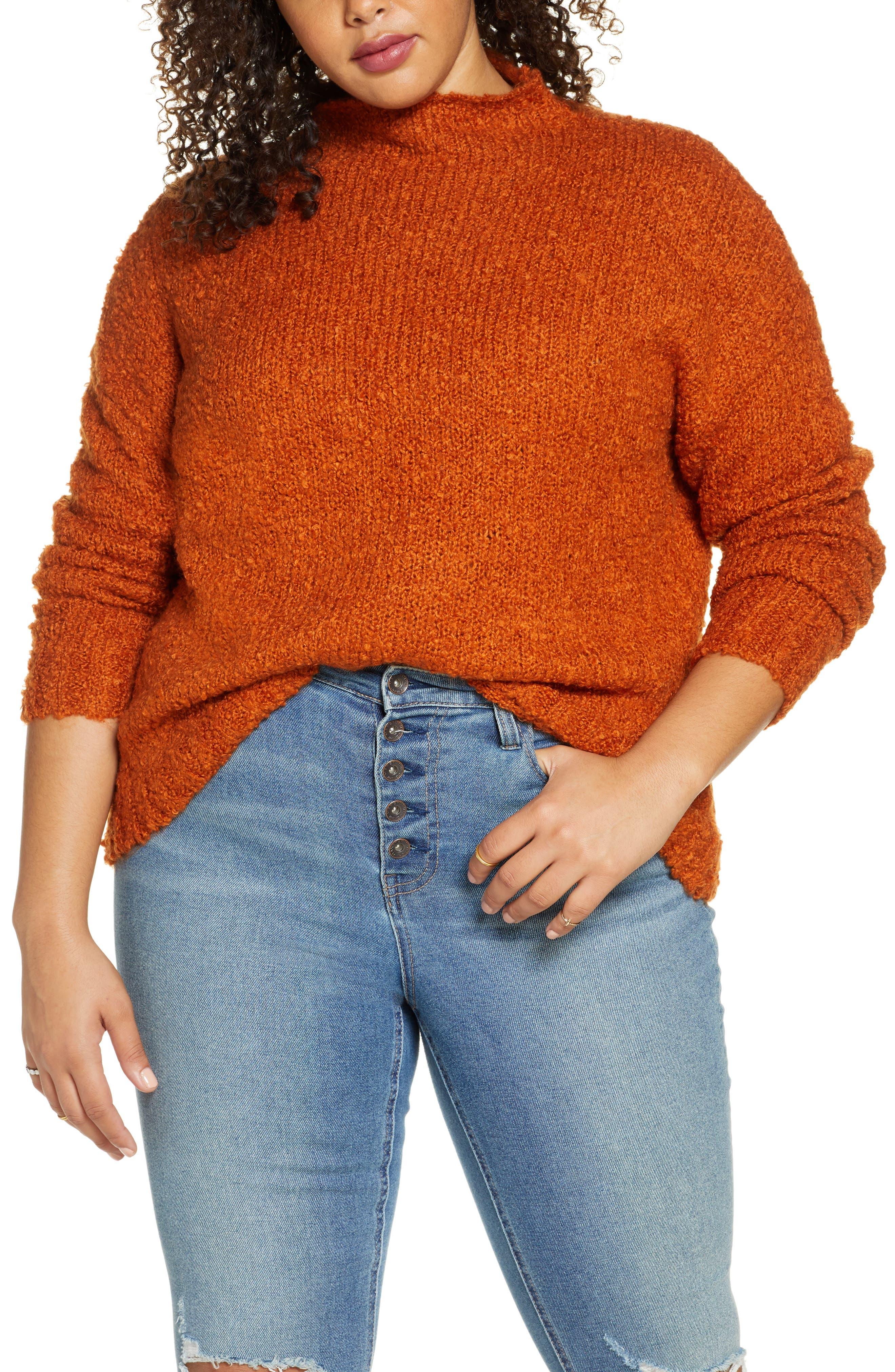 BP. Funnel Neck Bouclé Sweater
