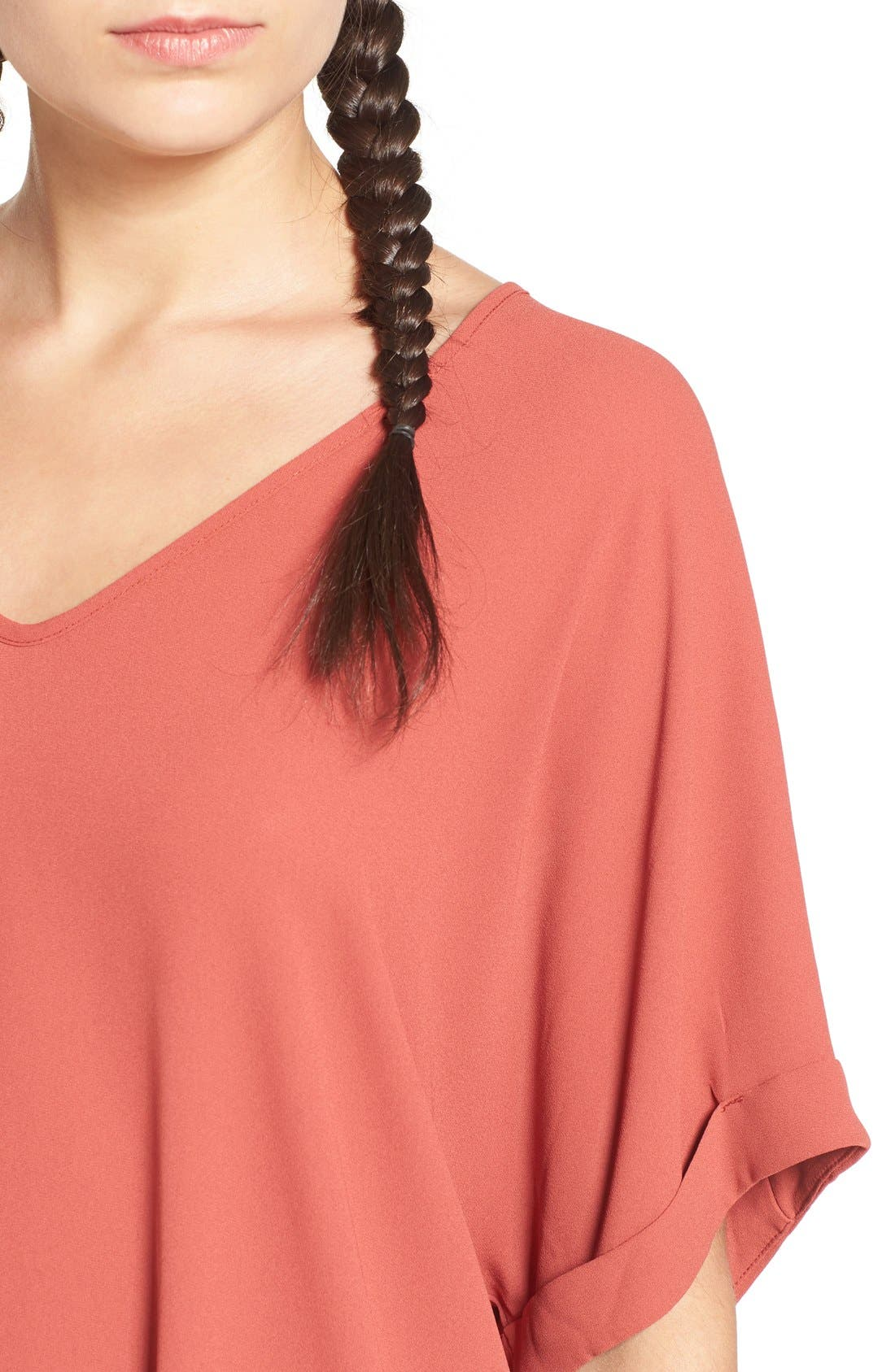 ,                             Lush Cuff Sleeve Woven Tee,                             Alternate thumbnail 175, color,                             800