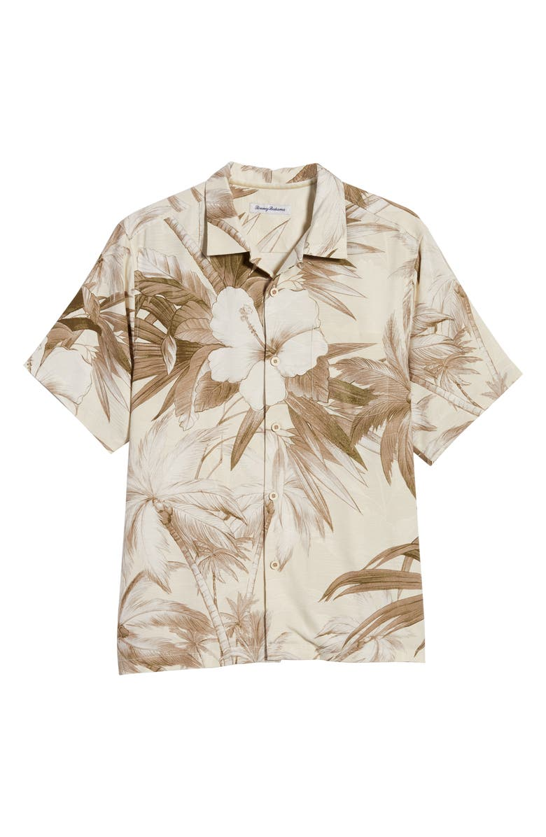 TOMMY BAHAMA Harbour Island Hibiscus Short Sleeve Silk Button-Up Shirt, Main, color, MARBLE CREAM
