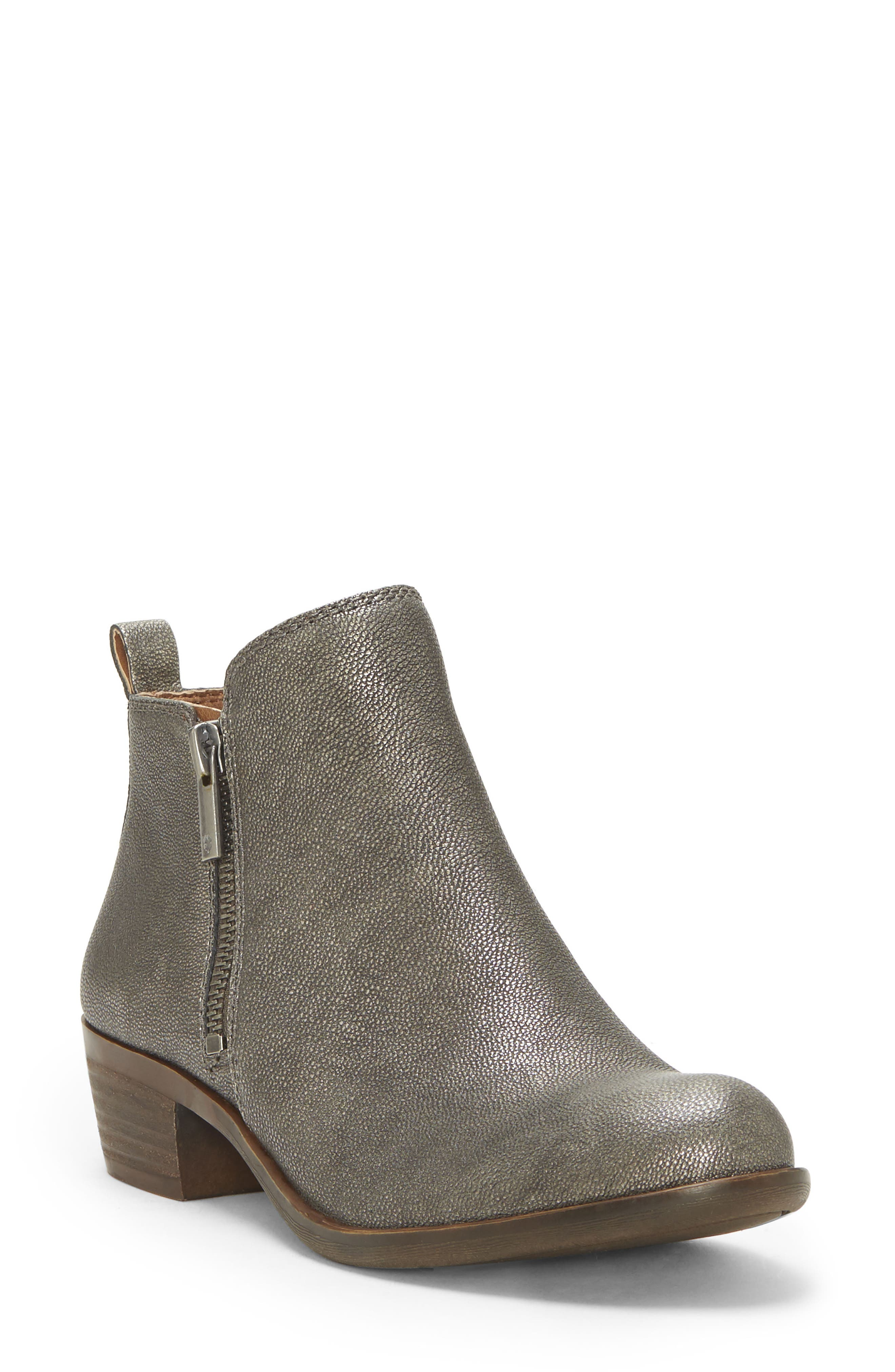 ,                             Basel Bootie,                             Main thumbnail 1, color,                             PEWTER SUEDE