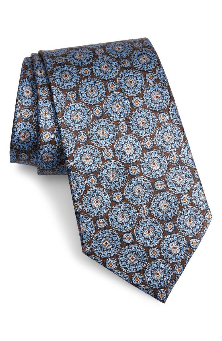 ERMENEGILDO ZEGNA Circle Medallion Silk Tie, Main, color, BROWN