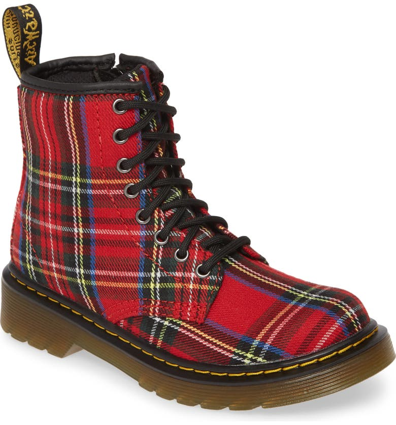 DR. MARTENS Junior Tartan Boot, Main, color, 600