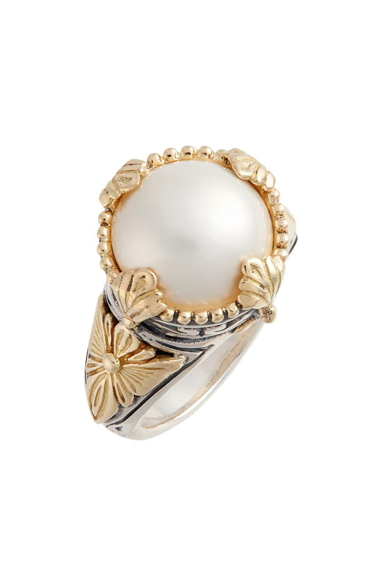 KONSTANTINO Thalia Mixed Media Pearl Ring, Main, color, SILVER/ PEARL