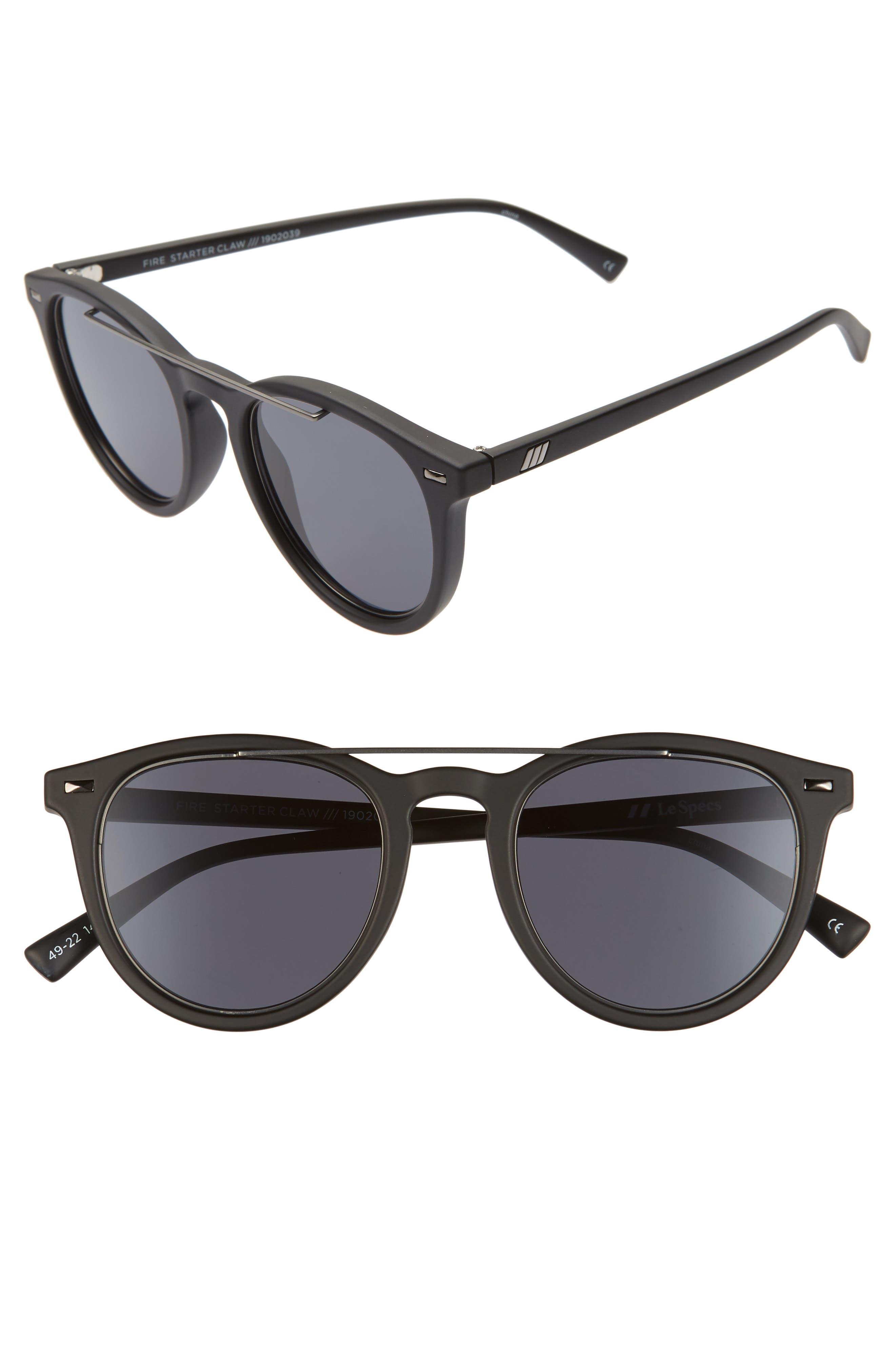 Le Specs Fire Starter 4m Round Sunglasses - Matte Black