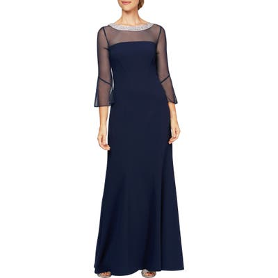 Alex Evenings Beaded Illusion Neckline Gown, Blue