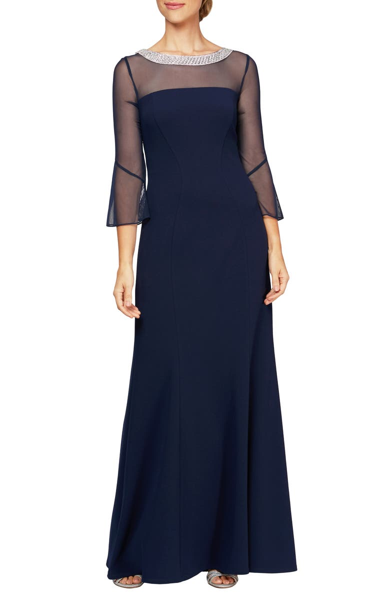 ALEX EVENINGS Beaded Illusion Neckline Gown, Main, color, NAVY