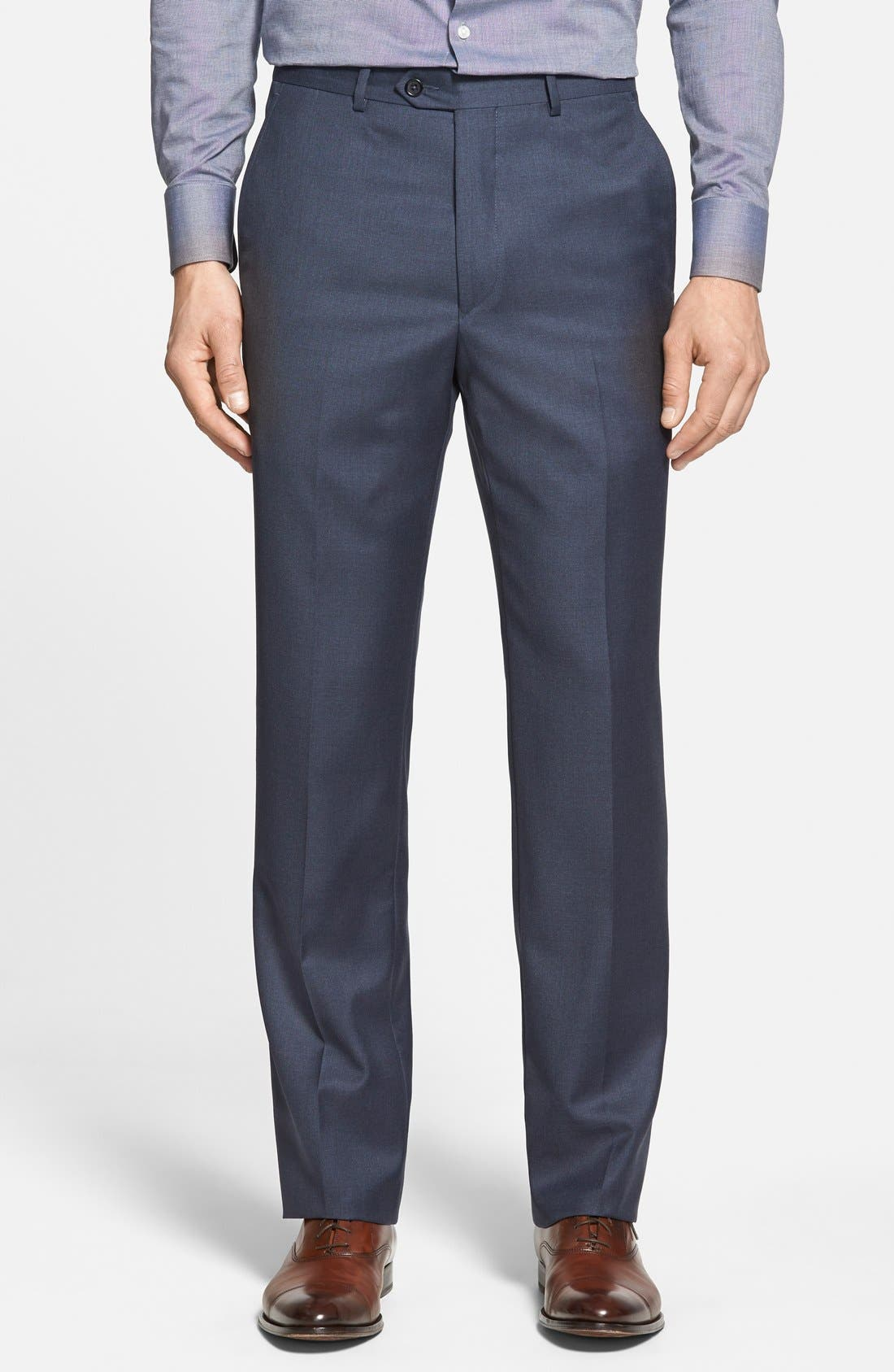 ,                             Luxury Flat Front Wool Trousers,                             Main thumbnail 1, color,                             MEDIUM BLUE