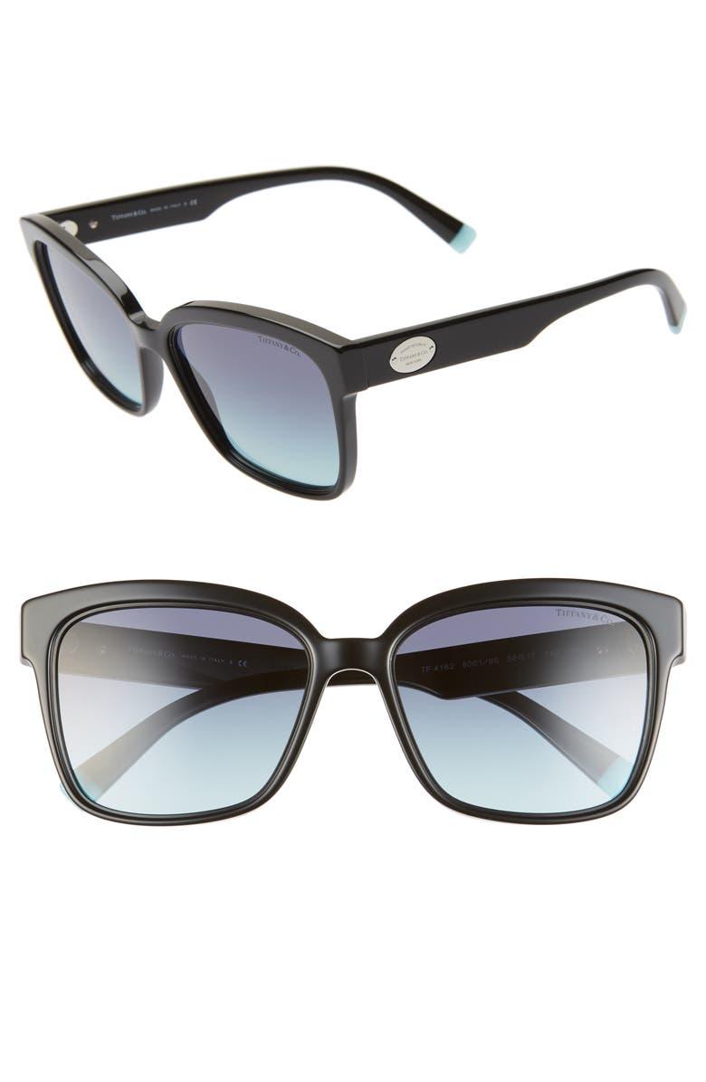 TIFFANY & CO. 56mm Gradient Square Sunglasses, Main, color, BLACK/ BLUE GRADIENT