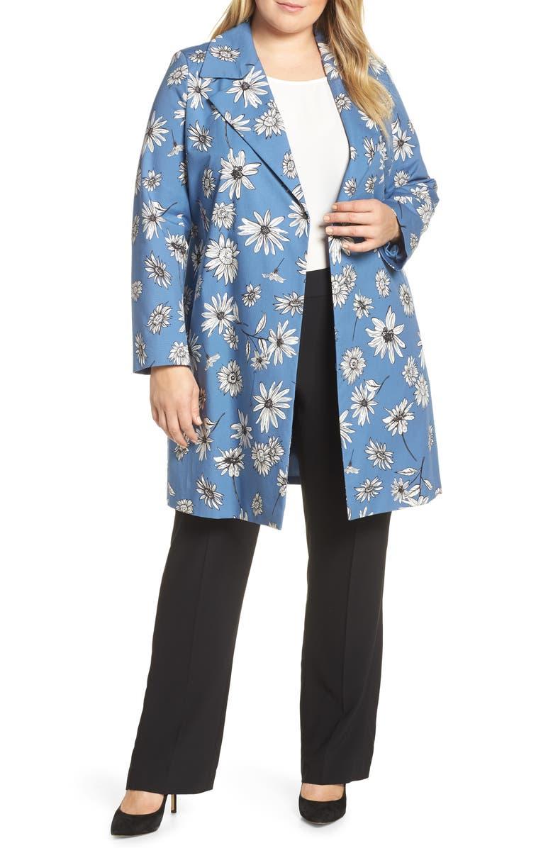 MARINA RINALDI Troupe Floral Print Raincoat, Main, color, SKY BLUE