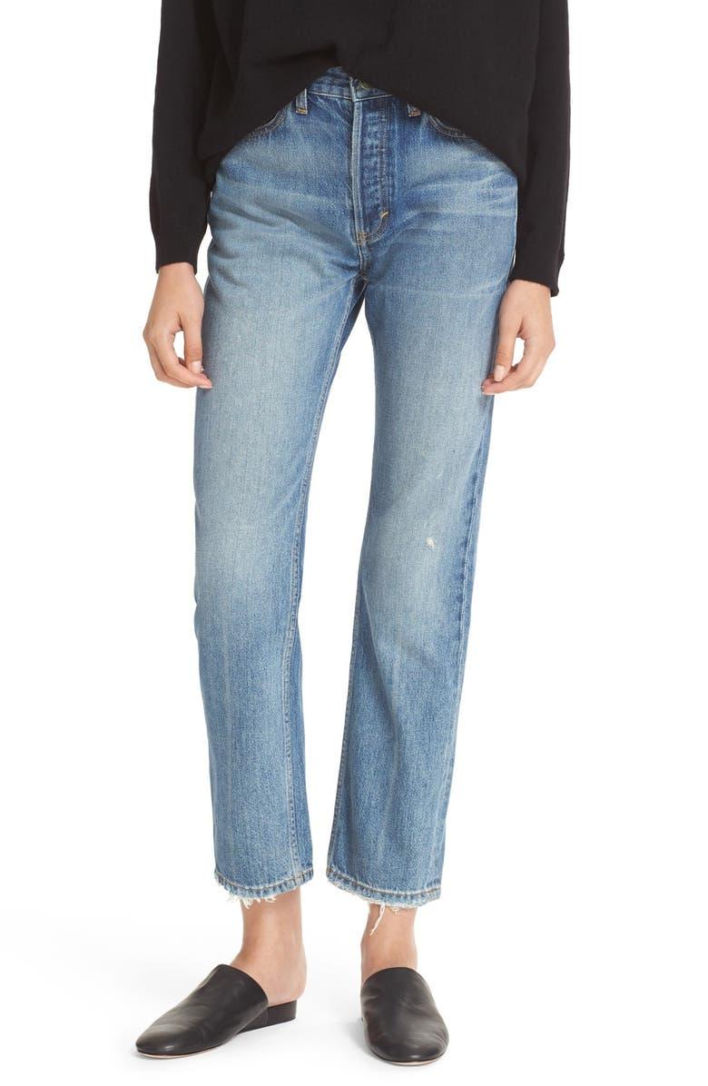 VINCE Vintage Straight Leg Crop Jeans, Main, color, 400