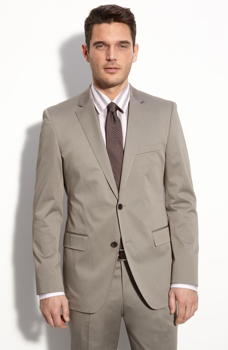 ZZDNUHUGO BOSS BOSS Black 'The James/Sharp 2' Grey Stretch Cotton Suit, Main, color, 031