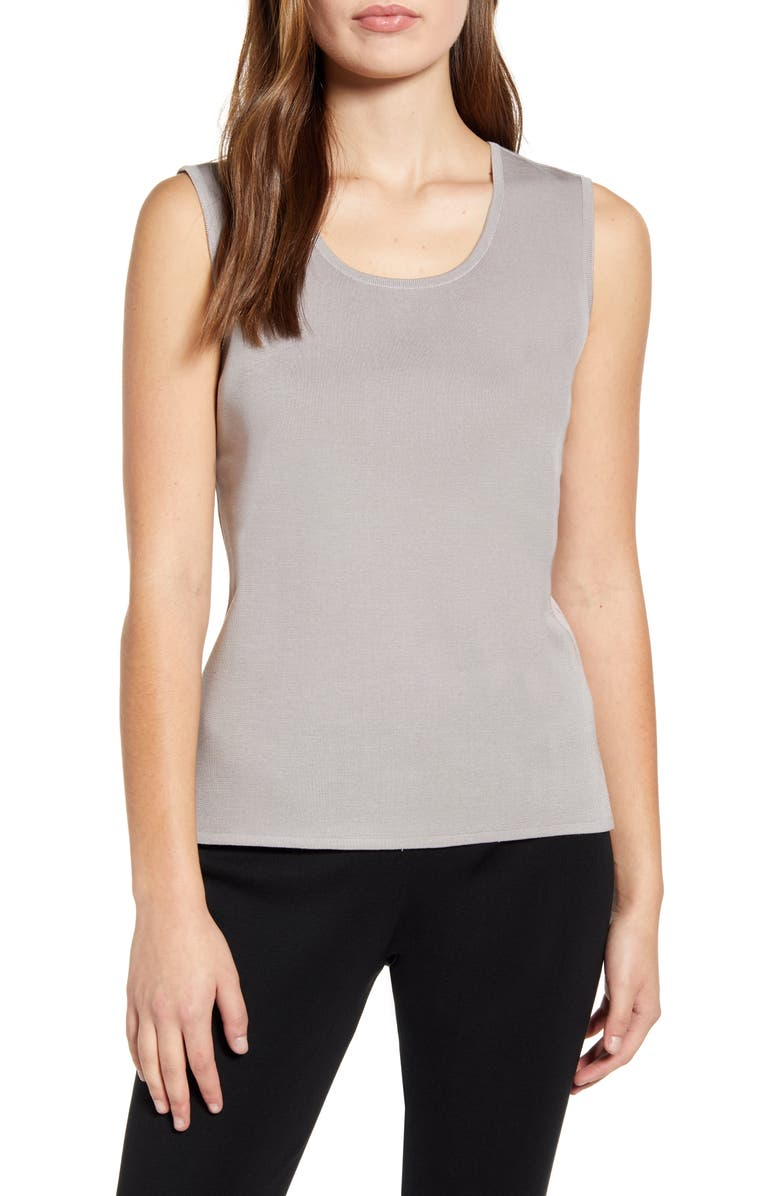 MING WANG Scoop Neck Knit Tank, Main, color, STERLING