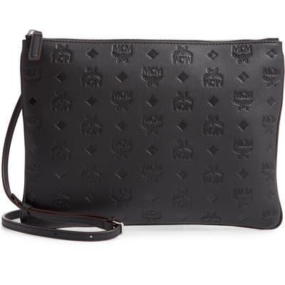Mcm Klara Monogram Calfskin Leather Crossbody Pouch - Black