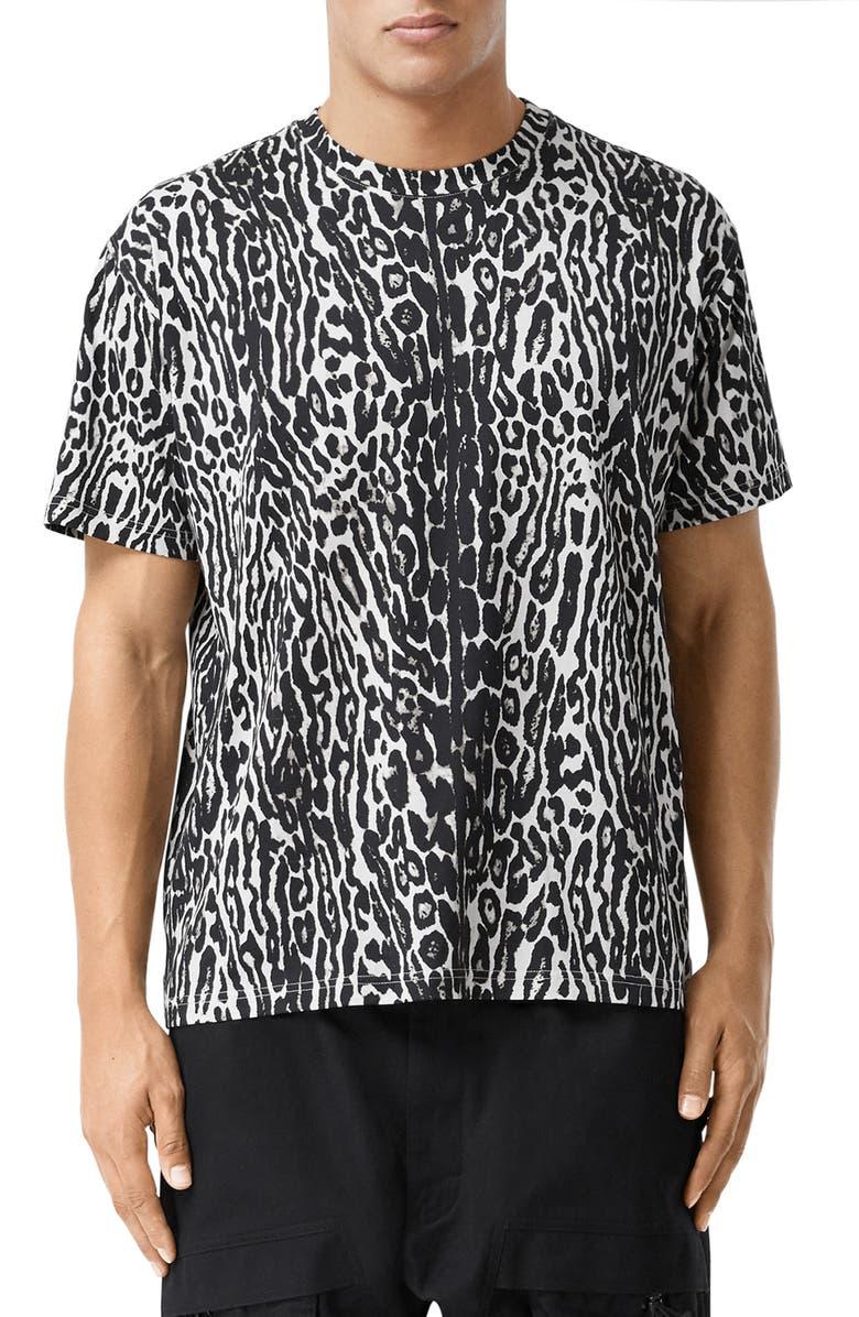 BURBERRY Radderson Leopard Print T-Shirt, Main, color, 001