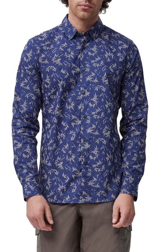 French Connection Marne Slim Fit Stretch Print Button-up Shirt In Estate Blue Multi