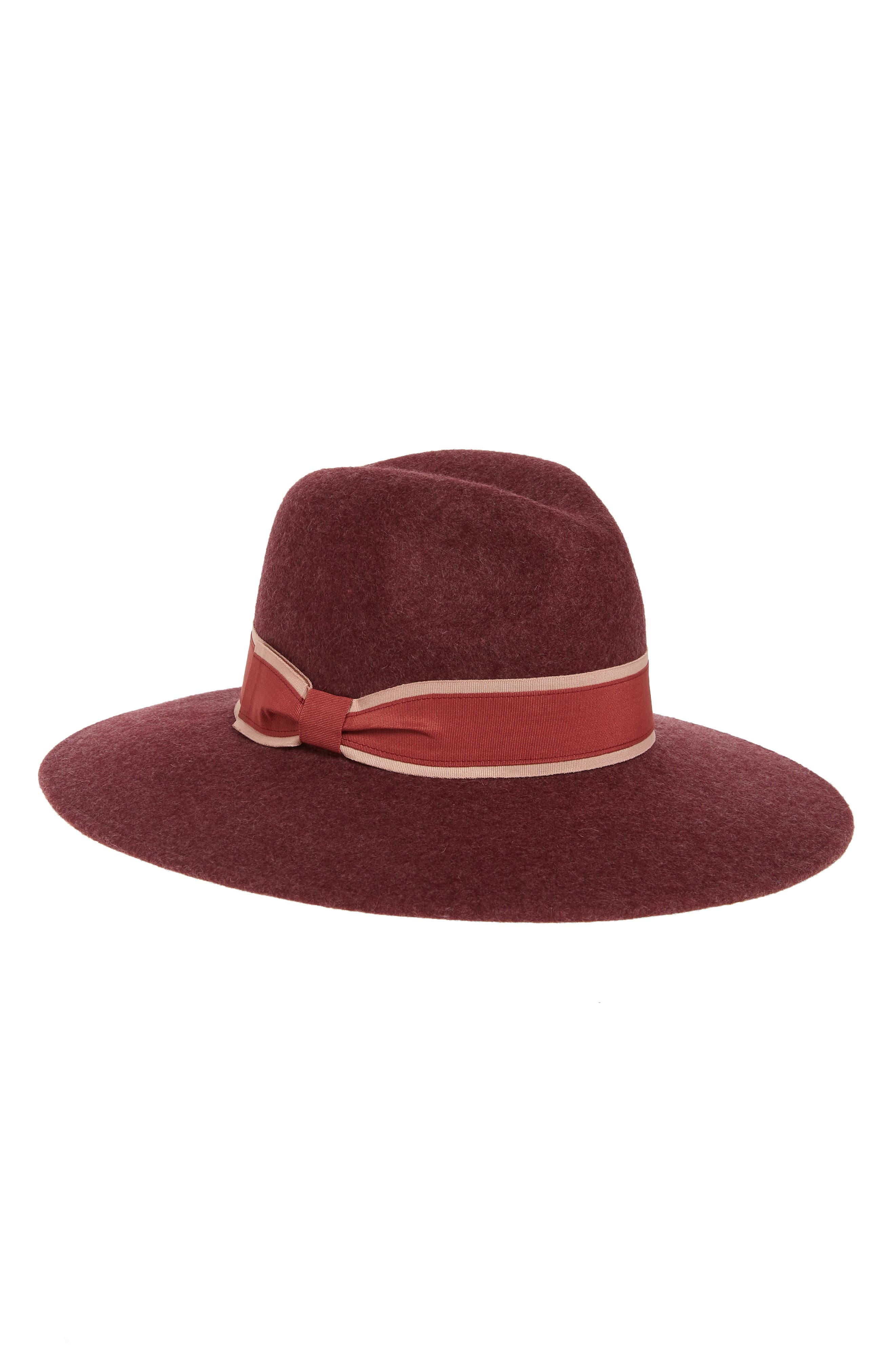 A layered band of polished grosgrain rings the crown of a Panama hat styled with a wide brim and a jaunty flair from soft wool felt. Style Name: Halogen Wool Felt Panama Hat. Style Number: 6018341. Available in stores.