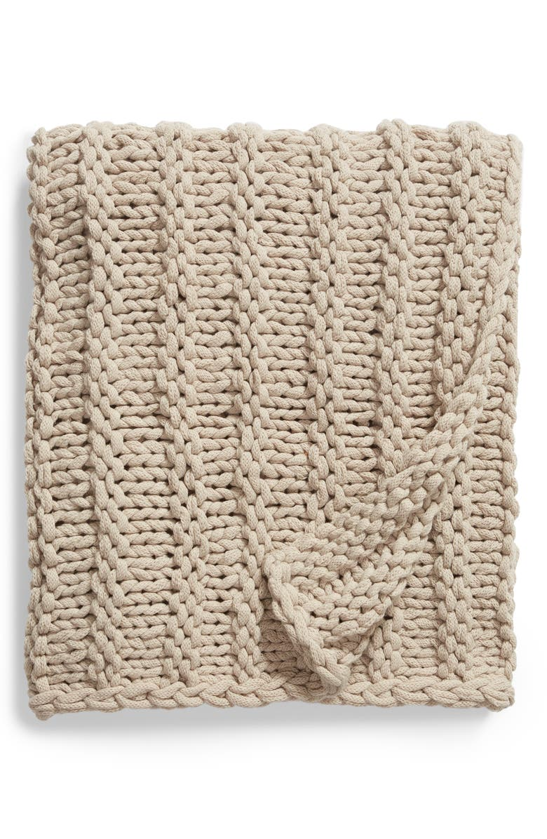 TREASURE & BOND Jersey Rope Chunky Knit Throw Blanket, Main, color, GREY OWL