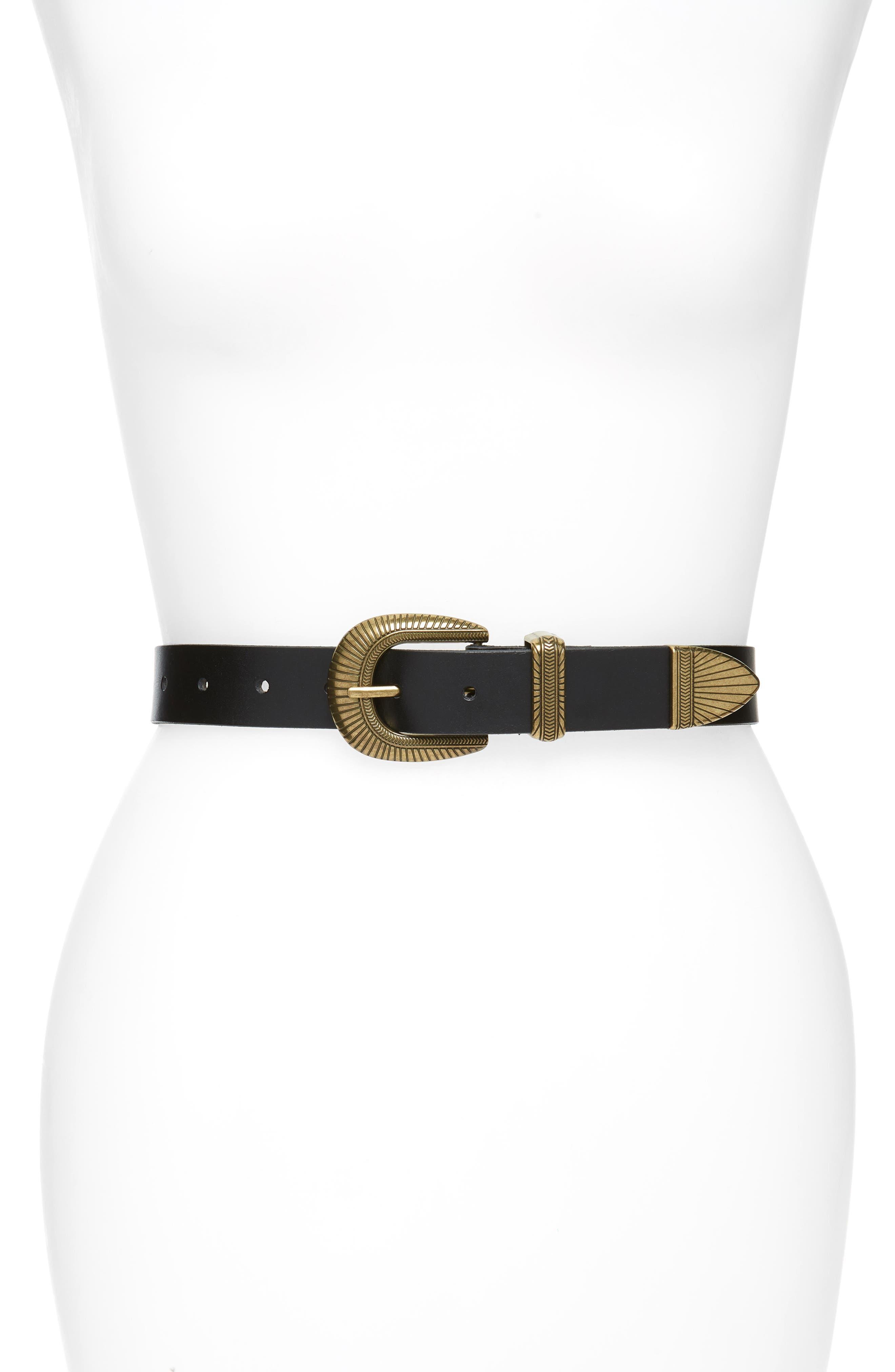 ,                             Western Jean Leather Belt,                             Main thumbnail 1, color,                             BLACK
