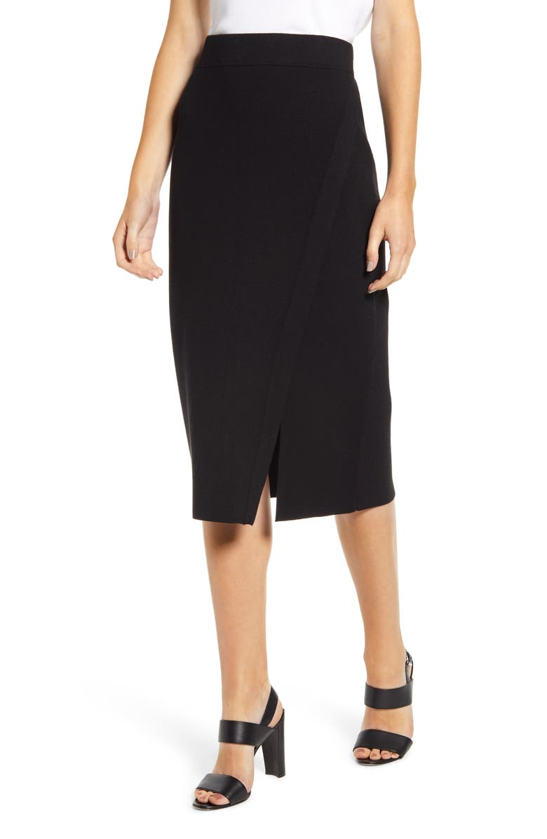 ANNE KLEIN Knit Pencil Skirt, Main, color, ANNE BLACK