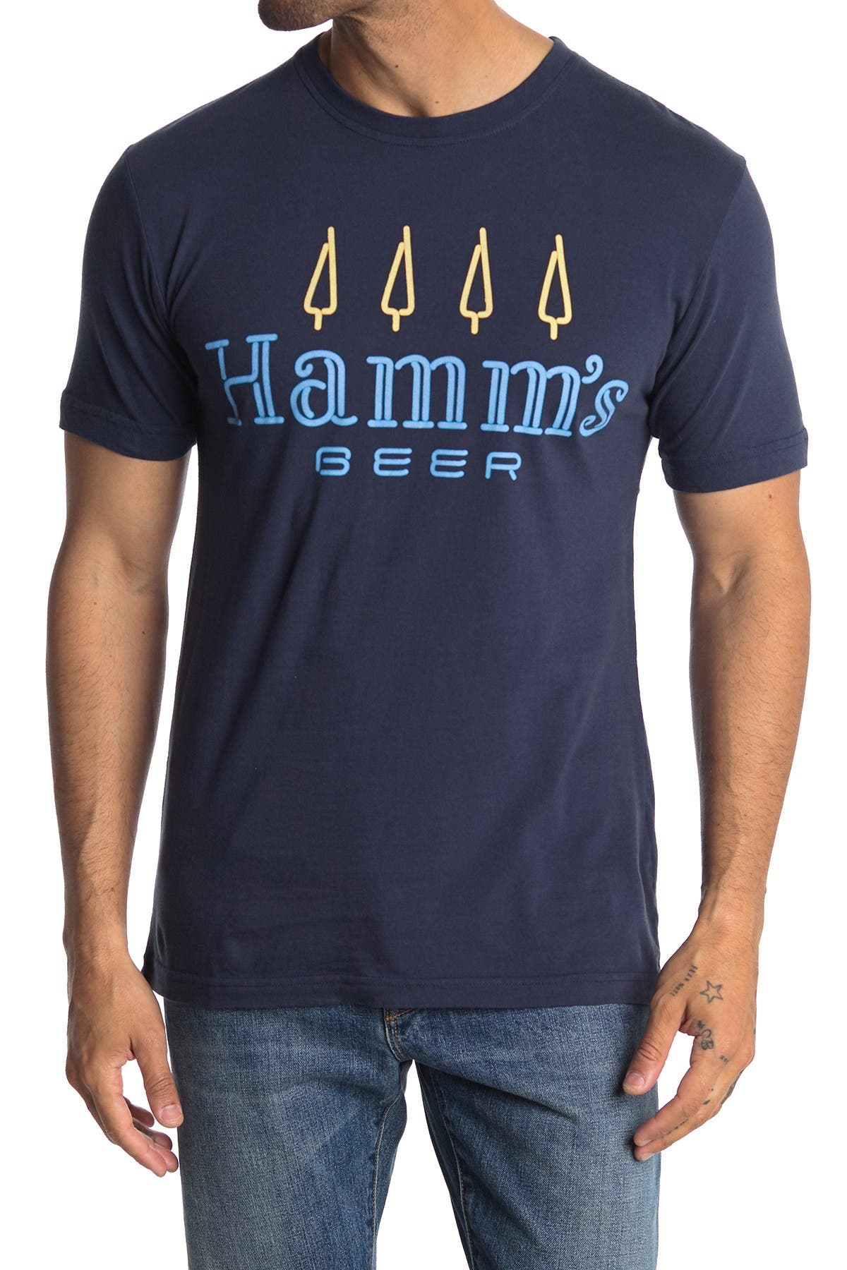 Image of American Needle Hamm's Beer Graphic Crew Neck T-Shirt
