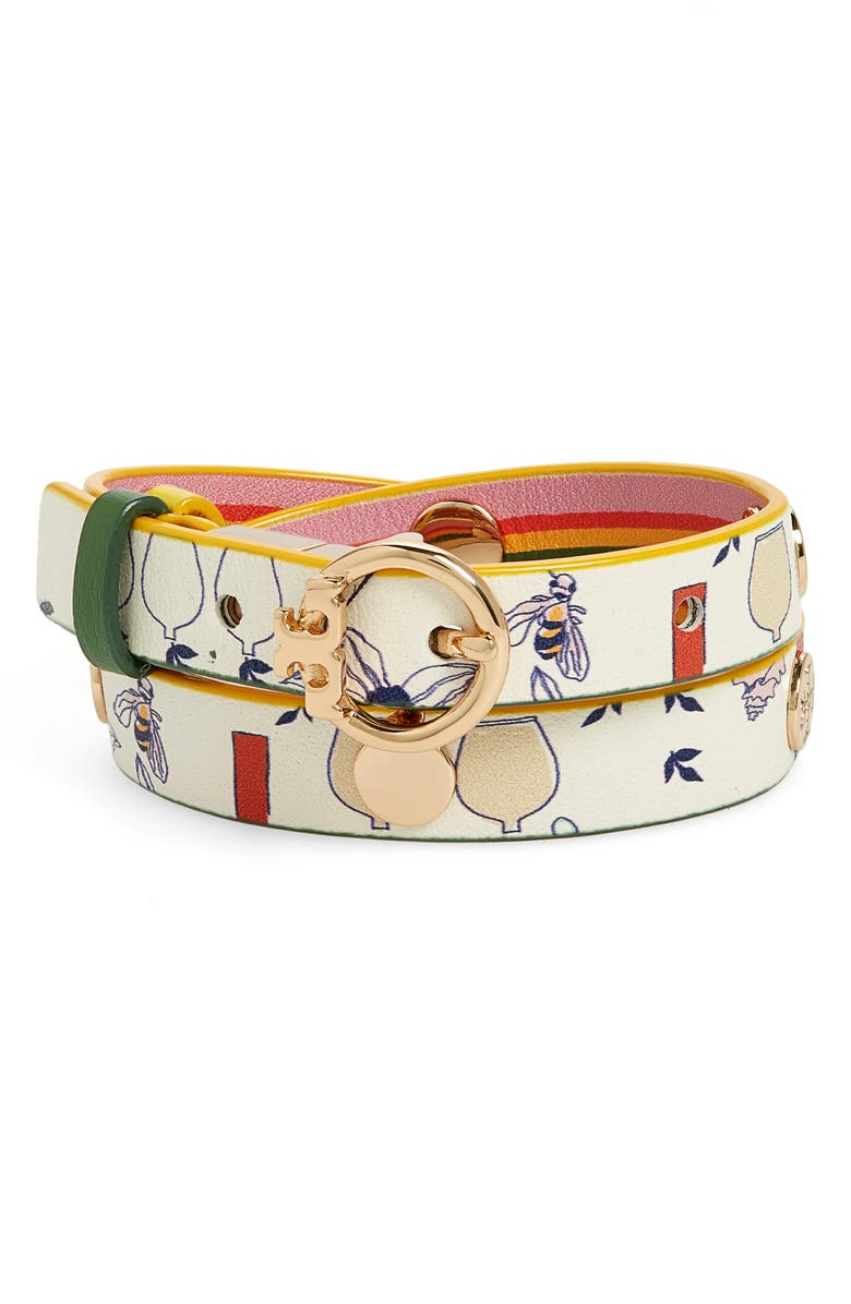 TORY BURCH Reversible Print Double Wrap Leather Bracelet, Main, color, 710
