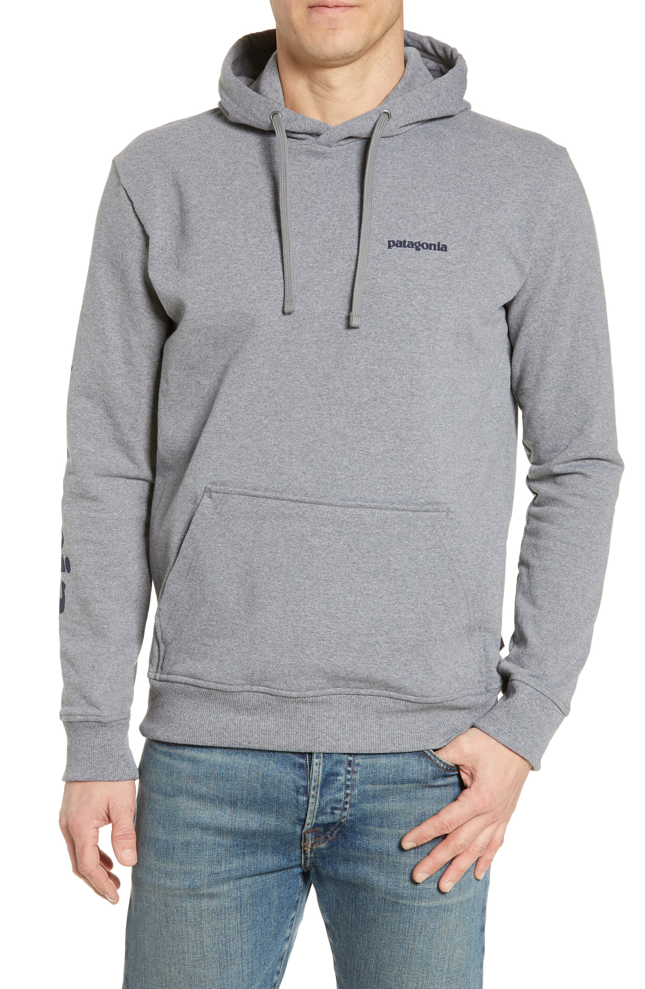 ,                             Text Logo Uprisal Recycled Cotton Blend Hoodie,                             Main thumbnail 1, color,                             GRAVEL HEATHER