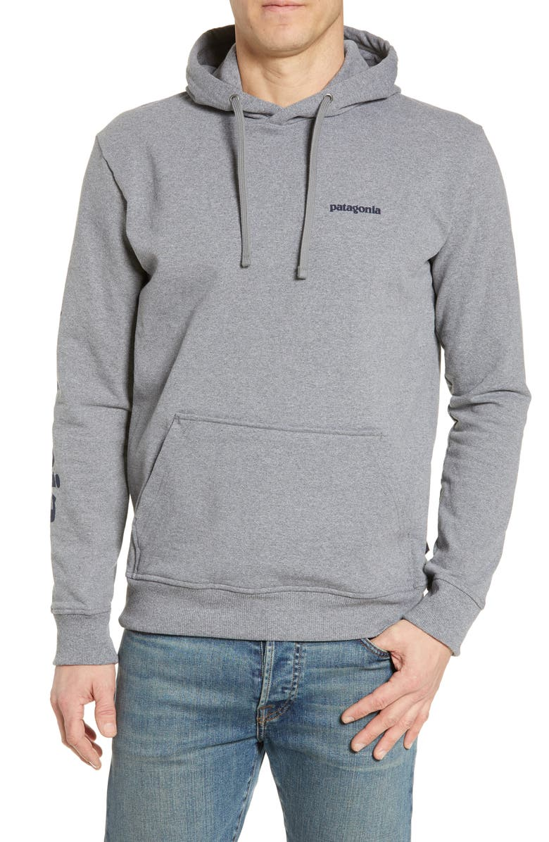 PATAGONIA Text Logo Uprisal Recycled Cotton Blend Hoodie, Main, color, GRAVEL HEATHER