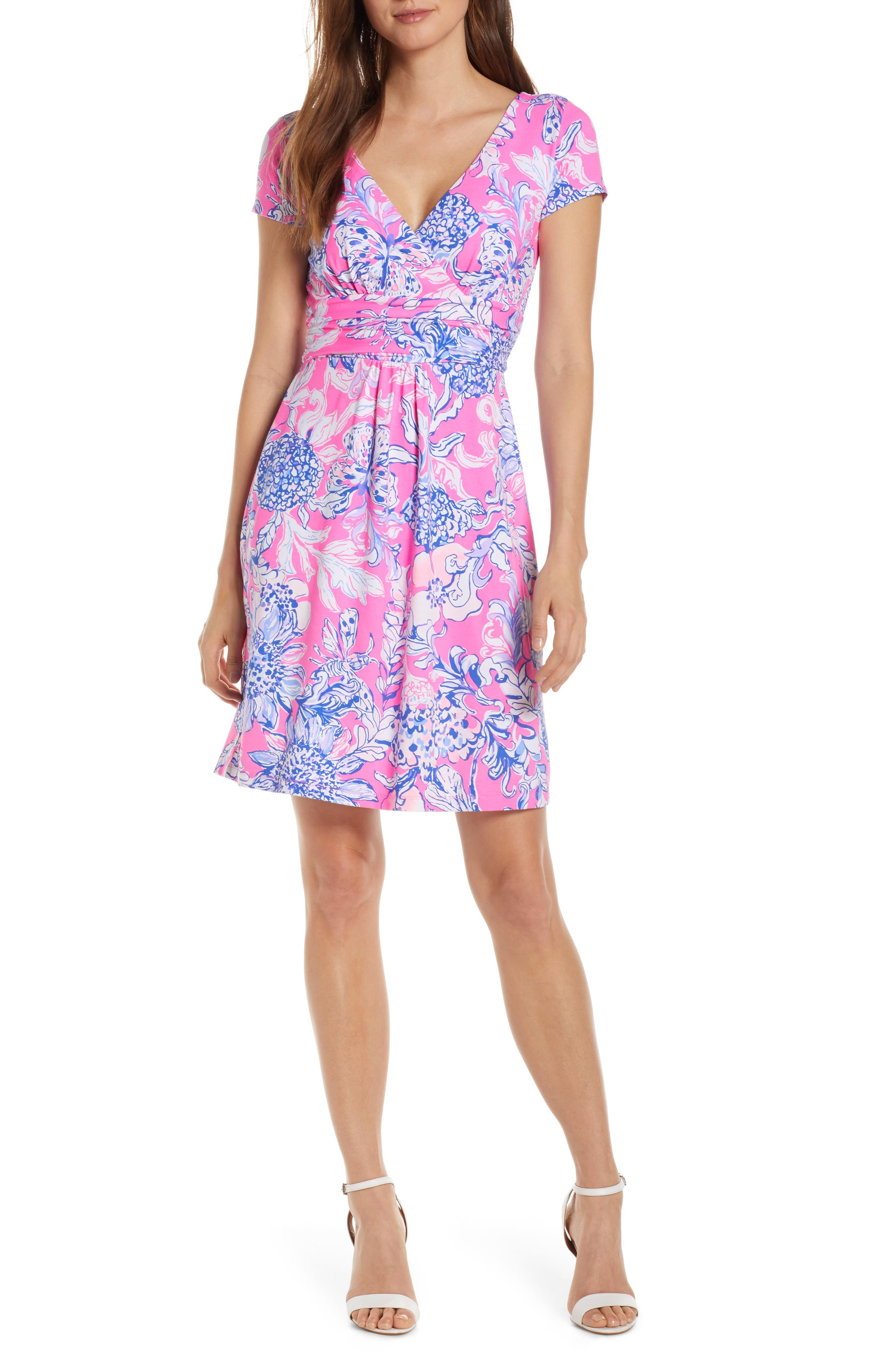 ,                             Lilly Pulizter<sup>®</sup> Winslow Print Surplice Dress,                             Main thumbnail 1, color,                             PINK TROPICS SUN DRENCHED