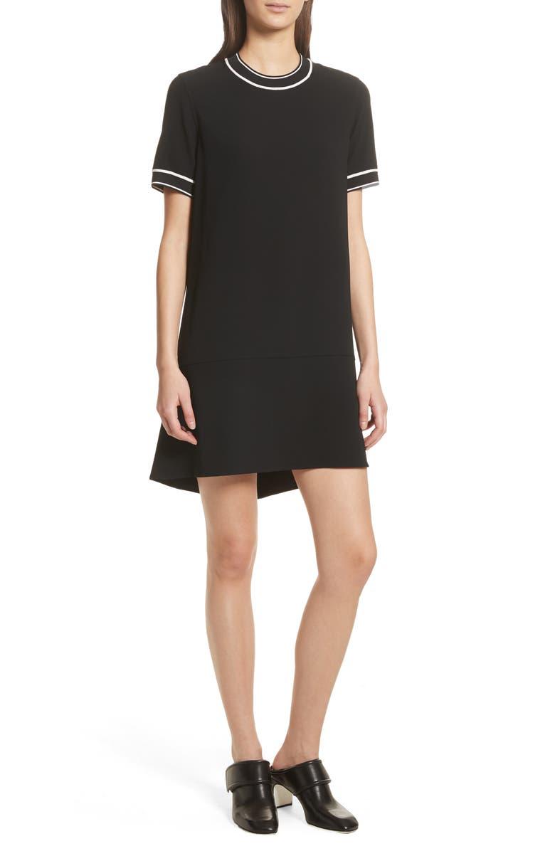 RAG & BONE Thatch Crepe Shift Dress, Main, color, BLACK