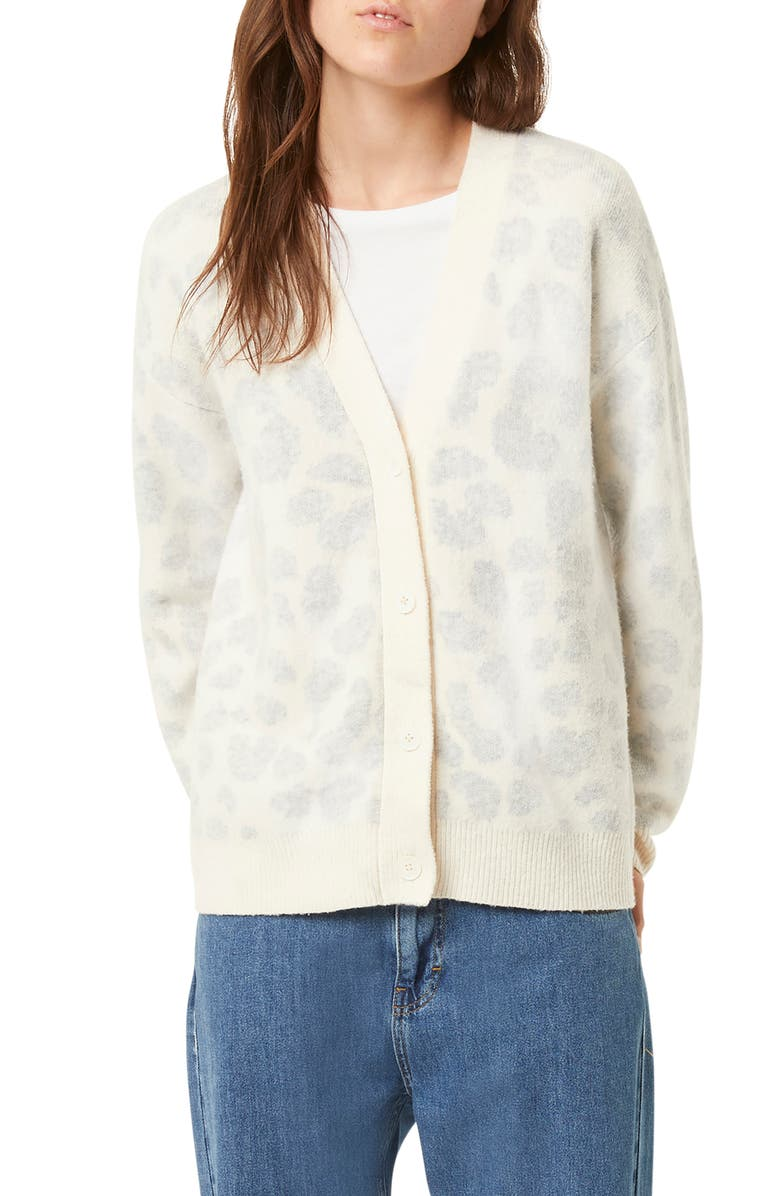 FRENCH CONNECTION Leopard Cardigan, Main, color, CLASSIC CREAM-DOVE GREY