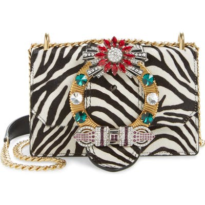 Miu Miu Zebra Print Genuine Calf Hair Shoulder Bag - White