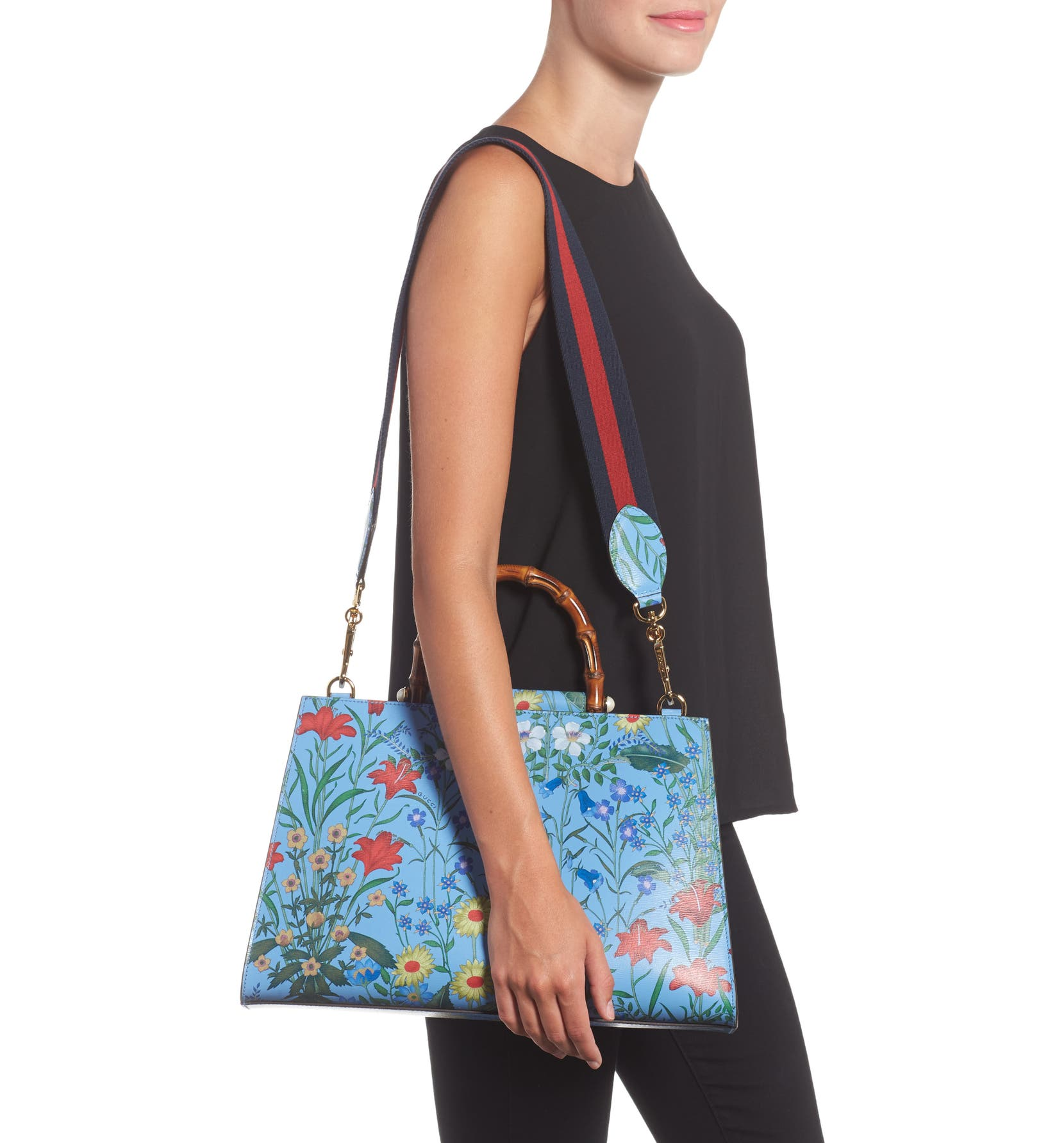 aaecdd756 Gucci Large Nymphaea New Flora Print Leather Top Handle Tote | Nordstrom