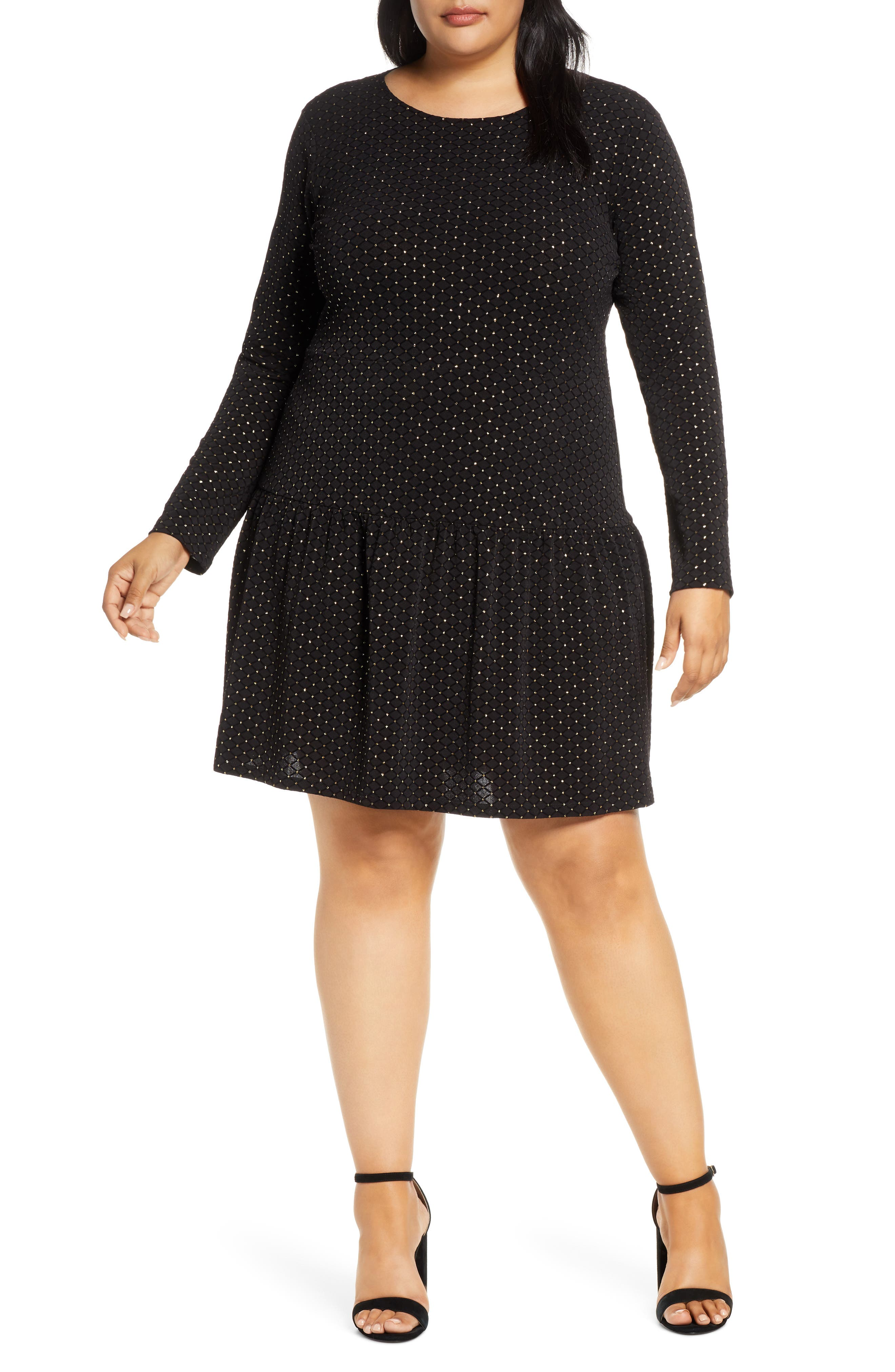 1920s Day Dresses, Tea Dresses, Mature Dresses with Sleeves Plus Size Womens Michael Michael Kors Long Sleeve Drop Waist Dress $155.00 AT vintagedancer.com