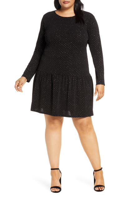 Michael Michael Kors Long Sleeve Drop Waist Dress In Black/ Gold