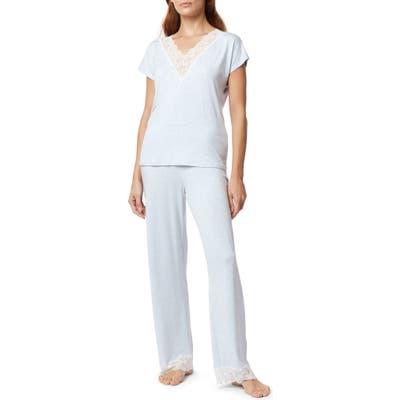 The White Company Lace Trim Pajamas, Blue