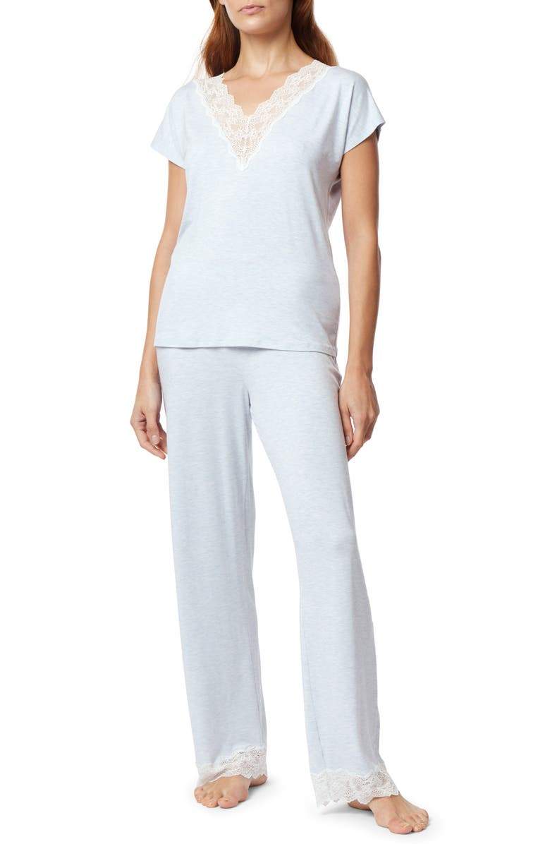 THE WHITE COMPANY Lace Trim Pajamas, Main, color, 400