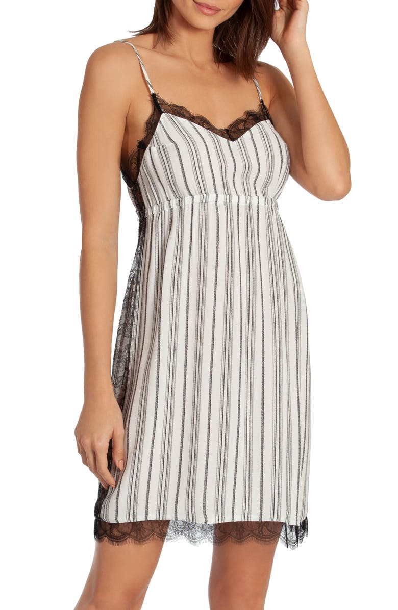 MIDNIGHT BAKERY Jade Stripe Chemise, Main, color, WHITE/ BLACK
