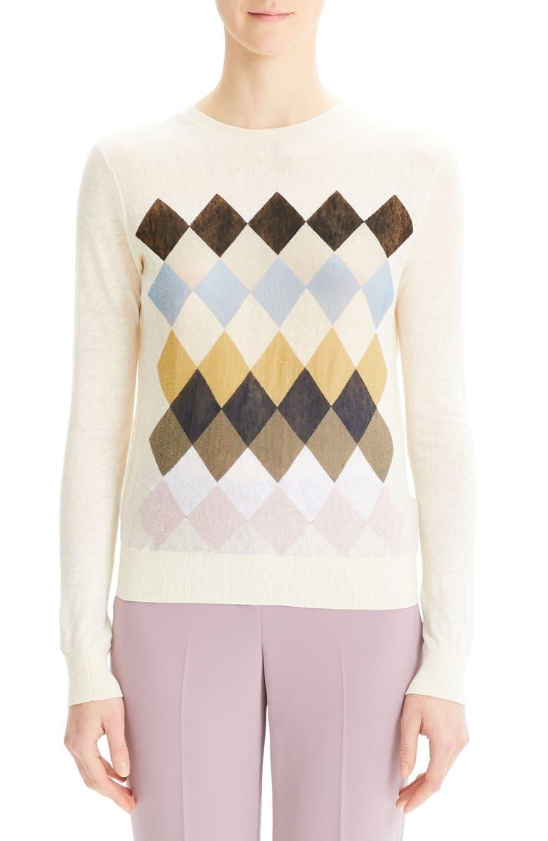 THEORY Diamond Pattern Linen Blend Sweater, Main, color, 900
