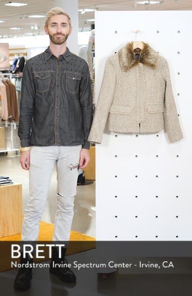 Metallic Tweed Jacket with Detachable Faux Fur Collar, sales video thumbnail