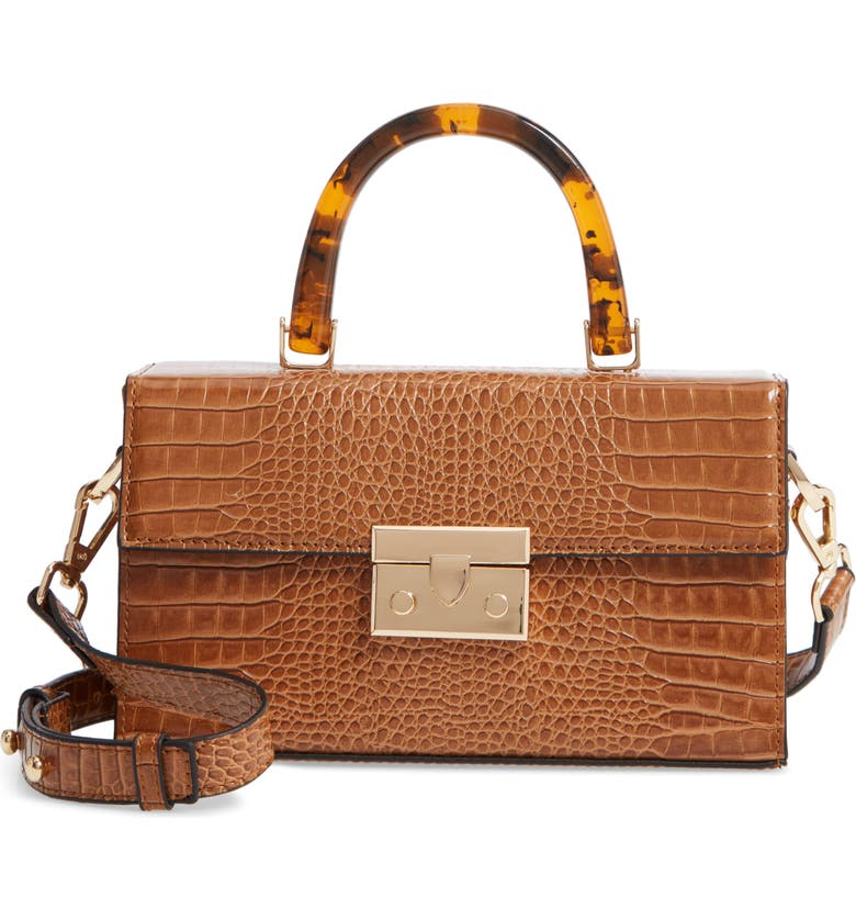 TOPSHOP Cannes Boxy Grab Bag, Main, color, BROWN MULTI