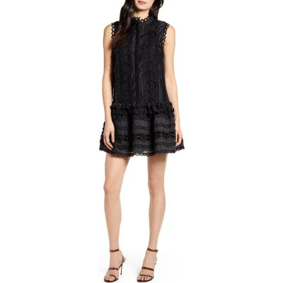 Endless Rose Sleeveless Lace A-Line Dress, Black