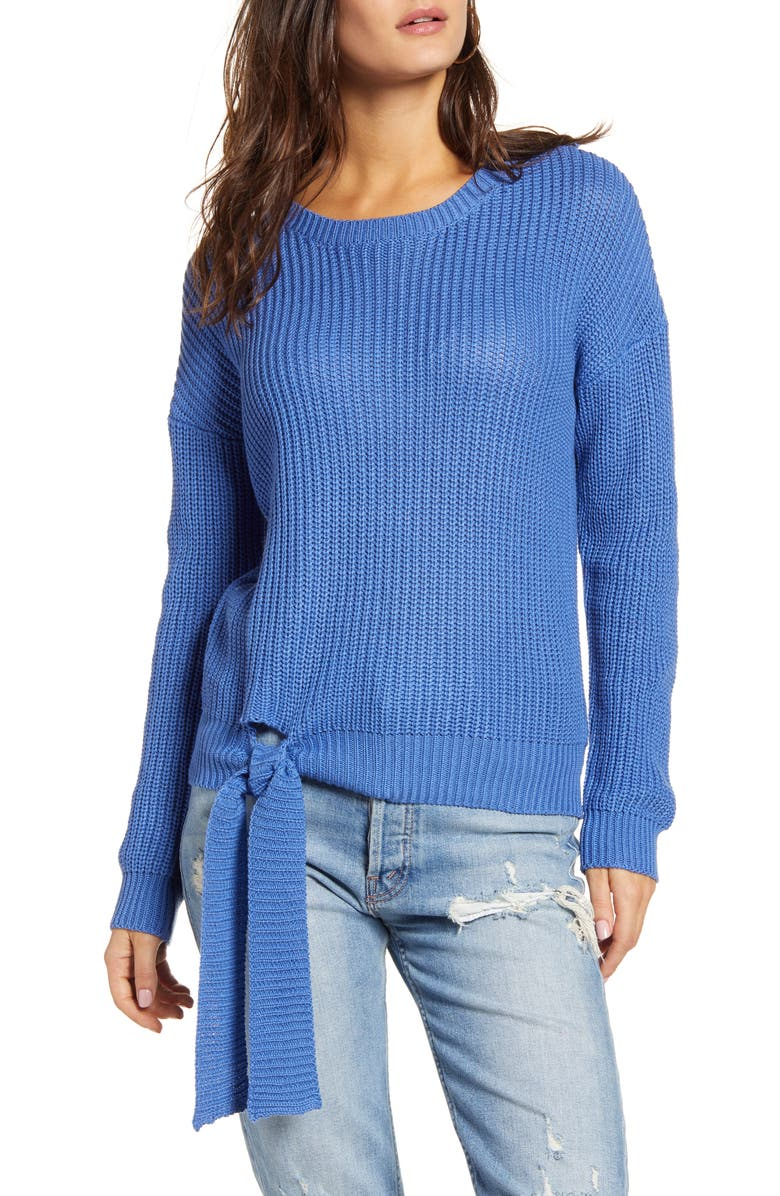 ENGLISH FACTORY Tie Hem Ribbed Sweater, Main, color, BLUE