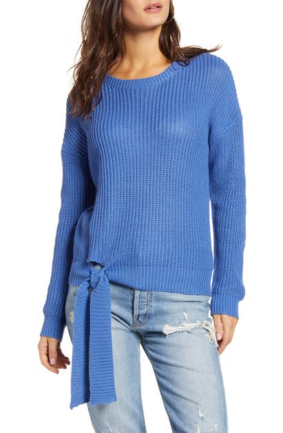 English Factory Tie Hem Ribbed Sweater In Blue