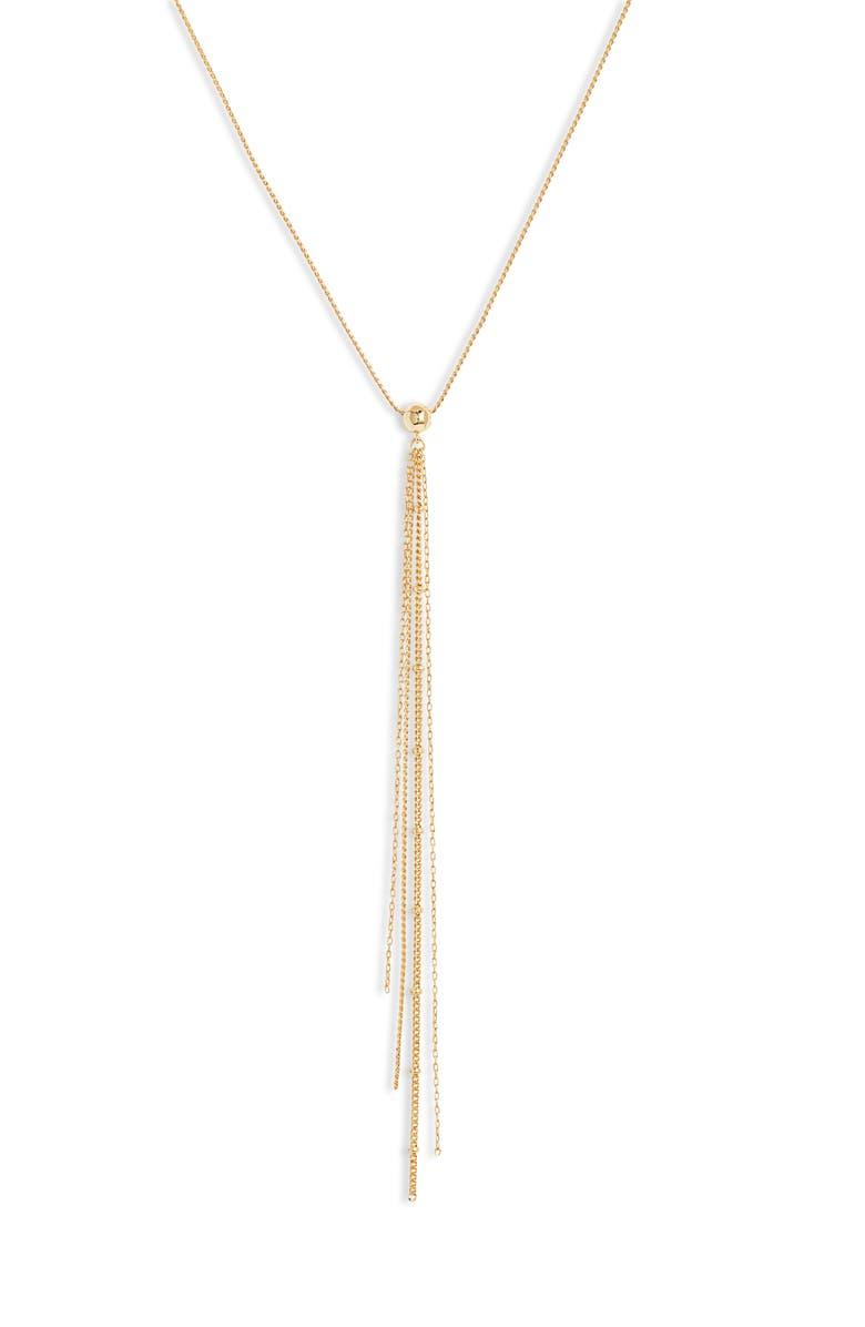 GORJANA Raquel Fringe Lariat Necklace, Main, color, GOLD