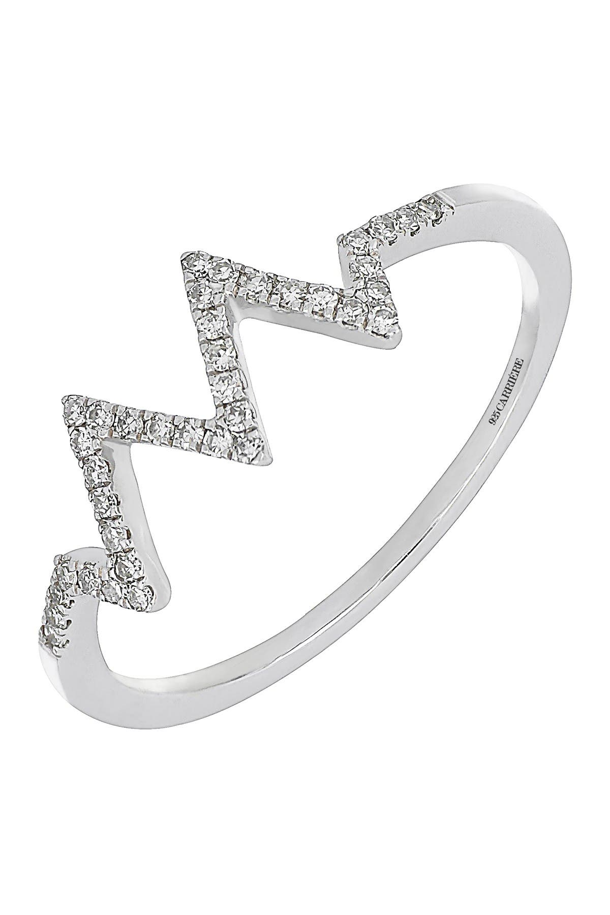 Image of Carriere Sterling Silver Pave Diamond ZigZag Ring - 0.12 ctw