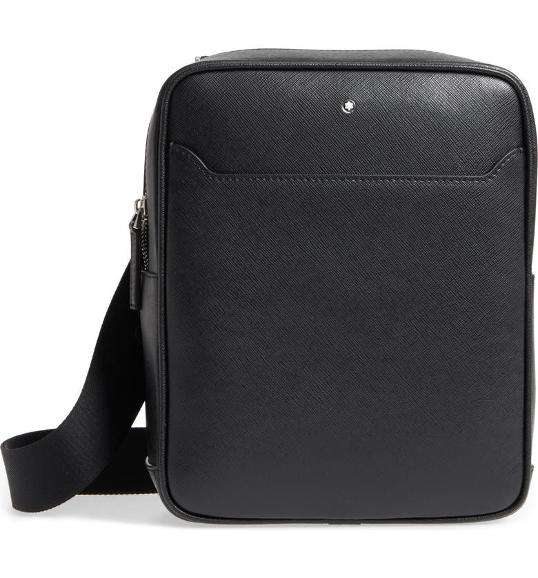 MONTBLANC Sartorial North South Leather Bag, Main, color, BLACK