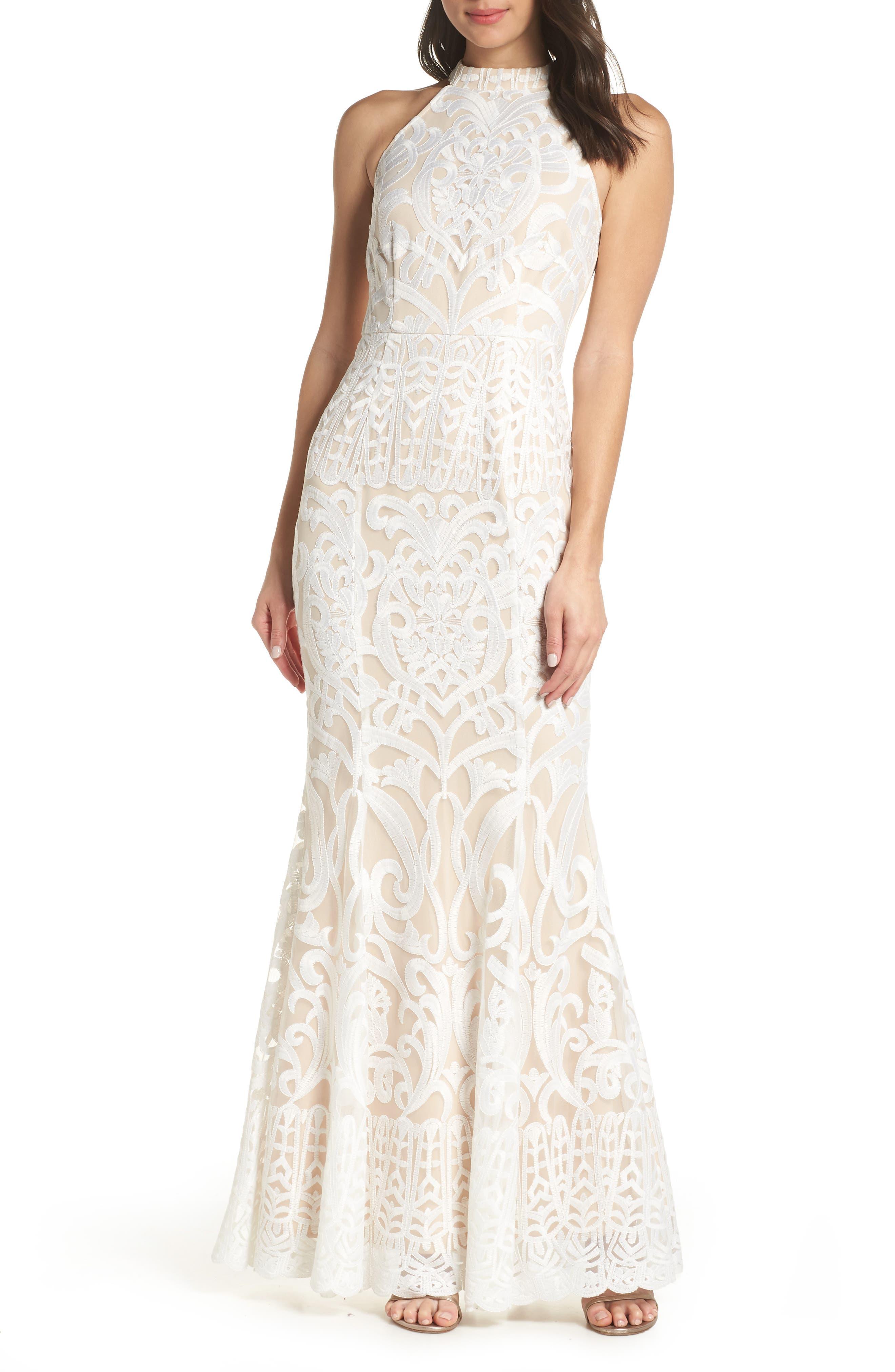 Foxiedox Alina Embroidered Halter Dress, Ivory