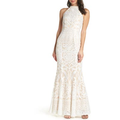 Foxiedox Alina Embroidered Halter Dress, Ivory