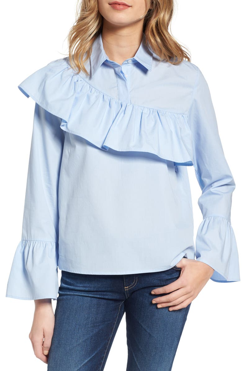 SINCERELY JULES Asymmetrical Ruffle Blouse, Main, color, 400