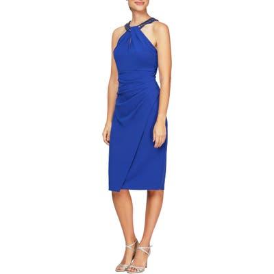 Alex Evenings Beaded Halter Neck Cocktail Dress, Blue